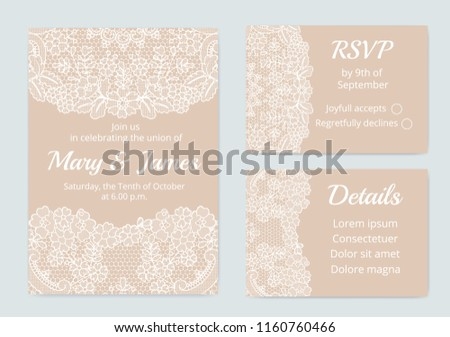 template wedding cards lace border on stock vector royalty free