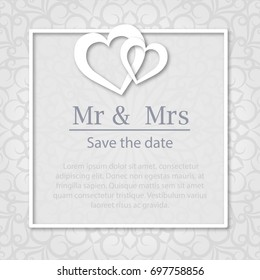 Template of wedding invitation, banner, marriage certificate.Lacework background.