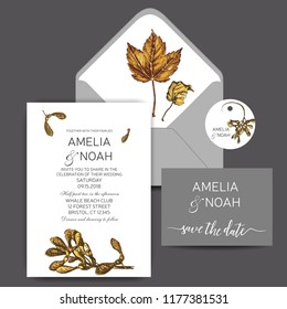 Template for wedding invitation. Card vector illustration with maple leaves.