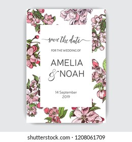 Template for wedding invitation. Card vector illustration with apple blossom.