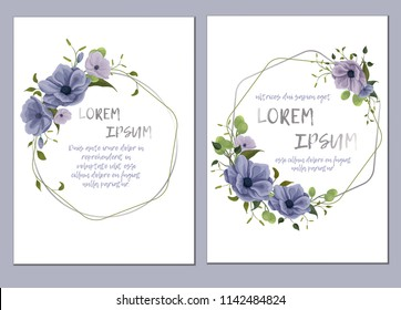 Template of the wedding invitation, cards. Imitation of watercolor. Design of flowers, twigs, foliage, grass. Delicate pastel colors: white, dark blue, pink, green. With a geomagnetic silver frame.