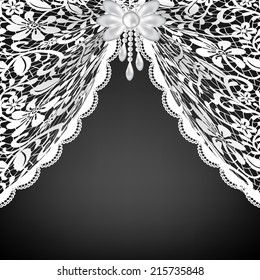 Template for wedding, invitation or greeting card with lace curtains and bow
