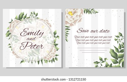 Template for wedding invitation. White roses, green leaves, plants, flora, round Golden frame. All elements are isolated.
