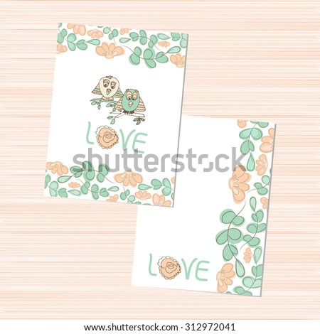 Template Wedding Valentines Day Owls Template Stock Vector Royalty