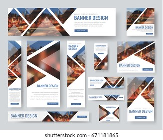 Template of white banners of standard size for the web. Design with triangular elements for a photo. Blurred image for example. Vector illustration. Set