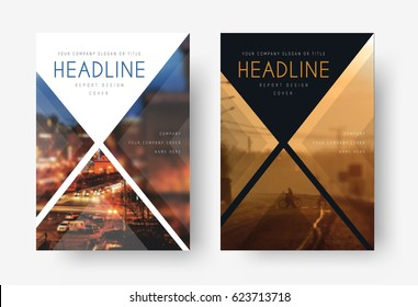 Template of white and black cover of the annual report, flyer for business, presentation, brochure for advertising. Design for printing with triangular transparent elements.