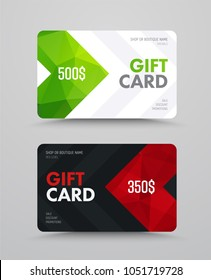 Template of a white and black gift card with polygonal abstract elements and arrows. Vector design with red and green polygons.