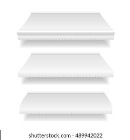 Template White Blank Awning Set for Shop and Restaurant. Vector illustration of awnings mock up