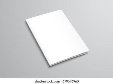 Template of white blank brochure on gray background. Mockup flyer, booklet for the presentation of the cover of the report. Vector illustration