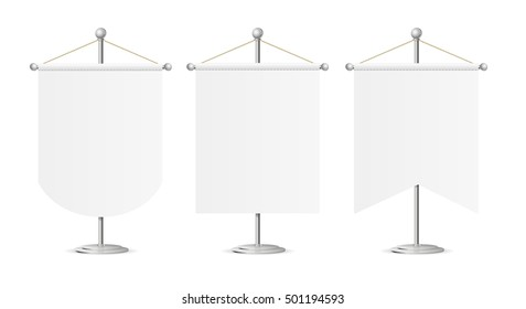 Template White Blank Realistic Pennant On Steel Spire Pedestal Set Vector Illustration Of Sport Flag