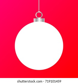 Template of white Christmas ball isolated on colorful red pink background. Stocking element for decoration. EPS vector illustration for design, mock-up. Shiny toy with silver glow metal chain.