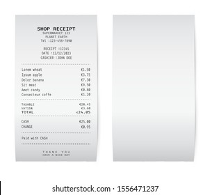 Template of a white paper receipt. Blank check from a shop, supermarket or restaurant