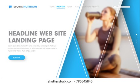 Template of a white vector header with blue triangles at different levels of height and photo. Universal web design for the site.