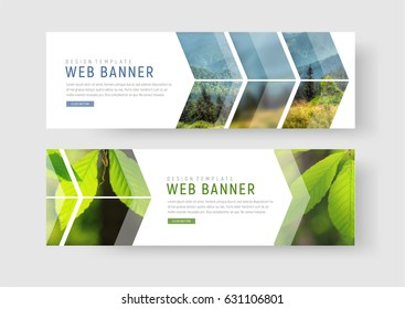 Template of white web banners with a place for photos in the form of an arrow and a pointer. Universal design for advertising travel, sports, business and others. Set. Photo of a mosaic for a sample.
