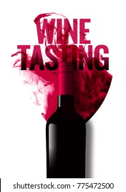 Template with wine bottle illustration and wine tasting text. Background liquid effect of wine glass. Isolated bottle A4 size. Idea for wine events, magazines or brochures. Vector illustration.