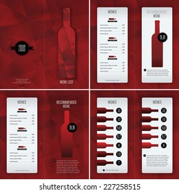 Template for wine list. Design covers and inside pages. Red tone background. Suitable for red wines.