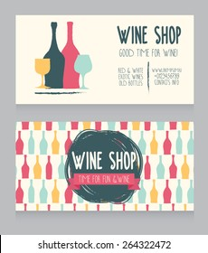template for wine shop business card, colorful hand drawn design design, can be used as invitation for wine party or as cover for wine card, vector illustration