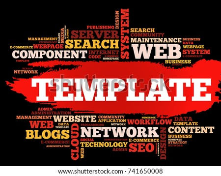TEMPLATE Word Cloud Collage Business Concept Stock Vector (Royalty