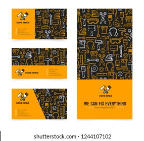 Template with working tools pattern for home repair, building, construction, renovation. Vector illustration. Home repair logo. Copy text place. Card, label, visit card, banner design template.