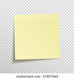 Template yellow sticky note isolated on transparent background. Vector, eps10.