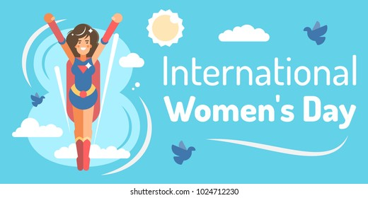 template with young super hero girl for international women's day celebration