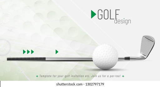 Template for your golf design with sample text in separate layer - vector illustration
