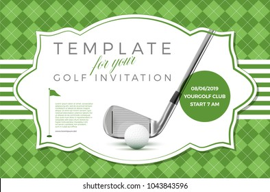 Template for your golf invitation with sample text in separate layer- vector illustration