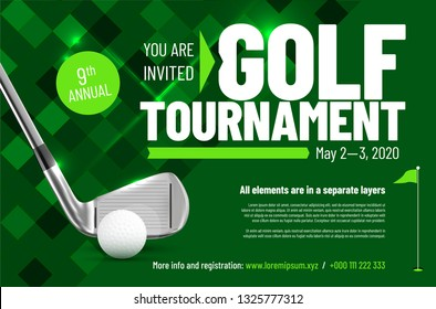 Template for your golf tournament invitation with sample text in separate layer - vector illustration