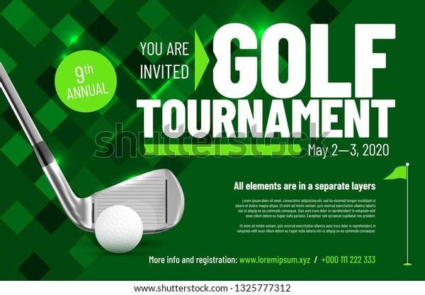 Template Your Golf Tournament Invitation Sample Stock Vector