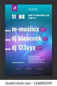 Template for your music night party poster with sample text in separate layer - vector illustration