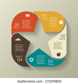Template for your retro business presentation with text areas (info graphic)