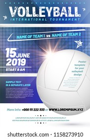 Template for your volleyball tournament poster design with sample text in separate layer - vector illustration