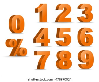 Templates 3D of figures of orange color and sign of percent. number from 1 to 9. Vector illustration. Set