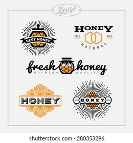 Templates for badges, labels, tags for honey bee product. Set 15. Vector illustration.