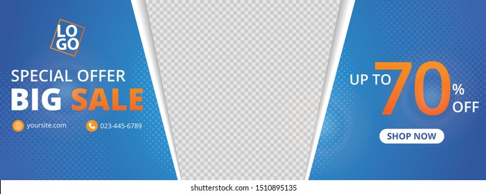 templates banner design for ads, banner social media, banner fashion sale with blue gradient background