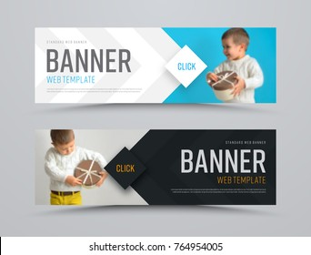 Templates of black and white vector horizontal web banners with arrows and a place for a photo. Minimalist design. Set. Blurred image for example