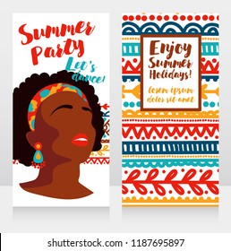 templates for boho style party with bright african american girl and ethinc style ornament, vector illustration