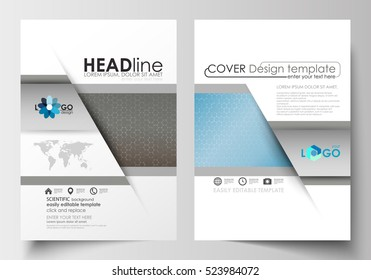 Templates for brochure, magazine, flyer, booklet. Cover template, flat layout in A4 size. Scientific medical research, chemistry pattern, hexagonal design molecule structure, science vector background