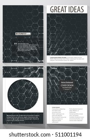 Templates for brochure, magazine, flyer. Cover template, easy editable vector, layout in A4 size. Chemistry 3D pattern, hexagonal molecule structure on black. Motion design. Geometric background.