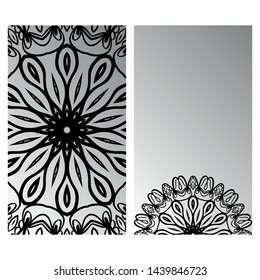 Templates Card With Mandala Design. Heathcare, Lifestyle Flyer. Vector Illustration.