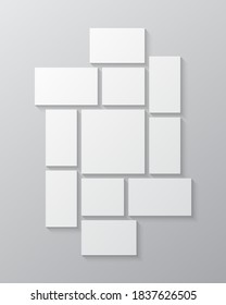 Templates collage eleven frames, photos, parts pictures, illustrations. Vector frame presentation. Creative theme with 11 part simple rectangle border layout. Modern minimal vertical moodboard mockup.