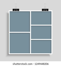 Templates collage five frames, photos, parts, picture or illustration. Vector frames. Board and branding Presentation. Creative theme. Moodboard. Five photos. Poster frame mockup. Collage concept.
