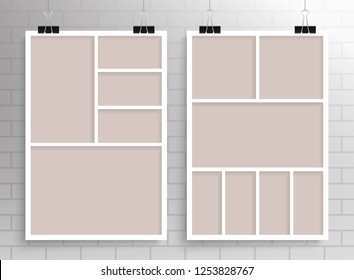 Templates collage five and seven frames, photos, parts, picture or illustration. Vector frames. Board and branding Presentation. Creative theme. Moodboard. Poster frame mockup. Collage concept.