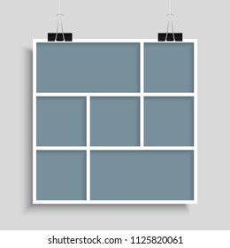 Templates Collage Seven Frames for Photo or Illustration. Vector Frame for Photos, Pictures, Photo Collage, Photo Puzzle. Board & Branding Presentation. Creative Theme. Moodboard. Seven Photos.