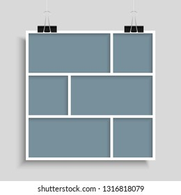 Templates collage six frames photos parts pictures or illustrations. Vector frames. Board and branding Presentation. Creative theme. Moodboard. Six photos. Poster frame mockup. Collage concept.
