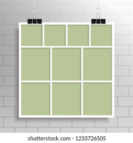 Templates collage ten frames, photos, parts, picture or illustration. Vector frames. Board and branding Presentation. Creative theme. Moodboard. Ten photos. Poster frame mockup. Collage concept.