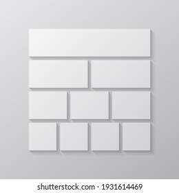 Templates collage ten frames, photos, parts pictures, illustrations. Vector frame branding presentation. Creative theme with 10 part simple square border layout. Modern minimalistic board mockup