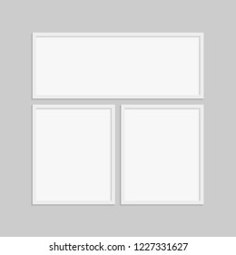Templates collage three frame photo part, picture or illustration. Vector frames. Board and branding Presentation. Creative theme. Moodboard. Three photos. Poster frame mockup. Collage concept.