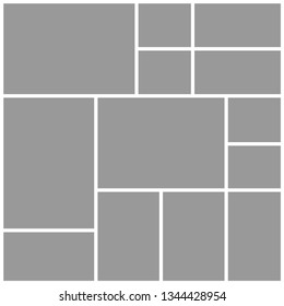 Templates collage twelve frames photos parts pictures or illustrations. Vector frames. Board and branding Presentation. Creative theme. Moodboard. Twelve photos. Poster frame mockup. Collage concept.