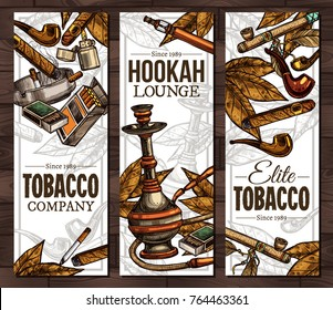 Templates with color sketch cigarettes, cigars, hookah, tobacco leaves, ceremonial pipe, lighter, vintage tobacco pipes. Design of vertical vector banners with hand drawn tobacco and smoking objects